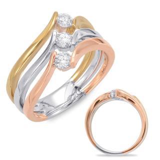 Rose & White & Yellow Gold Fashion Ring