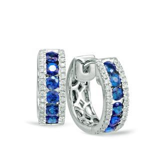 White Gold Sapphire & Diamond Huggie