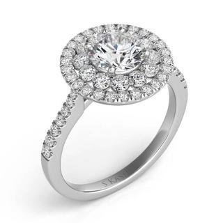 White Gold Halo Engagement Ring (0.97 cts.)