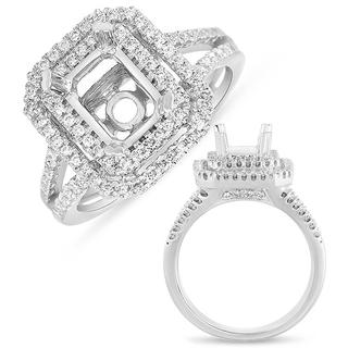 White Gold Pave Halo Ring (0.55 cts.)