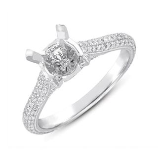 White Gold Pave Engagement Ring (0.54 cts.)