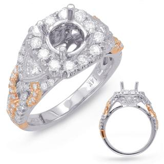 Rose and White Gold Halo Engagement Ring (0.94 cts.)