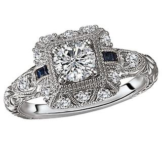 14KW Rom DIA/Sapphire Engraved Ring D5/8CT