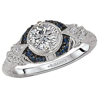 14KW Pet DIA/Sapphire Engraved Ring D1/2CT