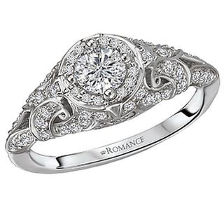14KW ROM Vintage DIA Engraved Ring D7/8CTW