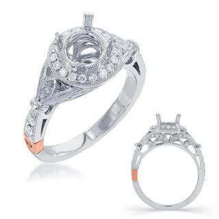 White Gold Halo Engagement Ring (0.44 cts.)