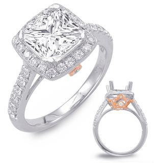 Rose & White Gold Halo Engagement Ring (0.58 cts.)