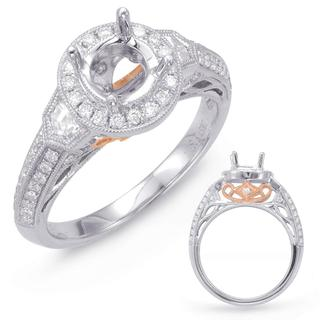 White & Rose Gold Halo Engagement Ring (0.62 cts.)