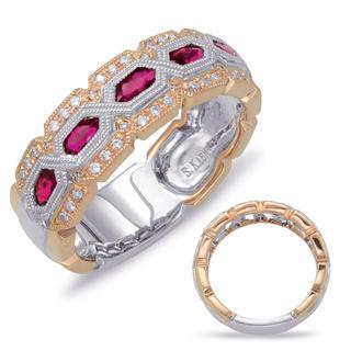 Rose & White Gold Ruby & Diamond Ring