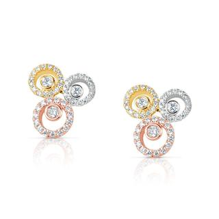 Tri Color Diamond Earring