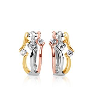 Rose & White & Yellow Gold Earring