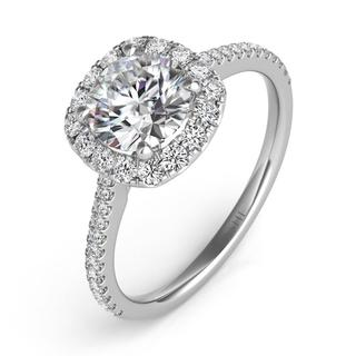 White Gold Halo Engagement Ring (0.48 cts.)