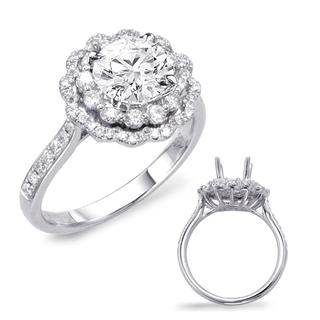 White Gold Halo Engagement Ring (0.58 cts.)