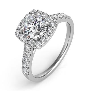 White Gold Halo Engagement Ring (0.57 cts.)